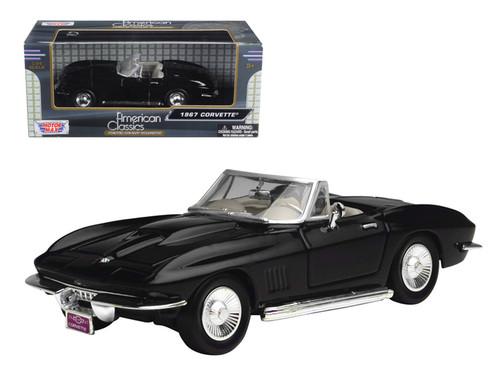 1967 Chevrolet Corvette Convertible Black 1/24 Scale Diecast Car Model By Motor Max 73224