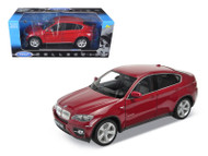 BMW X6 Red 1/18 Scale Diecast Car Model By Welly 18031