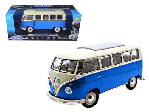 1962 Volkswagen Microbus Blue 1/18 Scale Diecast Model By Welly 12531