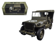Military WWII WW2 1/4 Ton U.S. Army Jeep Vehicle Hard Top Green 1/18 Scale By Welly 18036