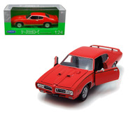 1969 Pontiac GTO Judge Red 1/24 Scale Diecast Car Model By Welly 22501
