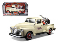 1950 Chevy 3100 Pickup Truck & 2001 FLSTS Harley Davidson Heritage Springer Motorcyle 1/25 Scale Diecast Model By Maisto 32194