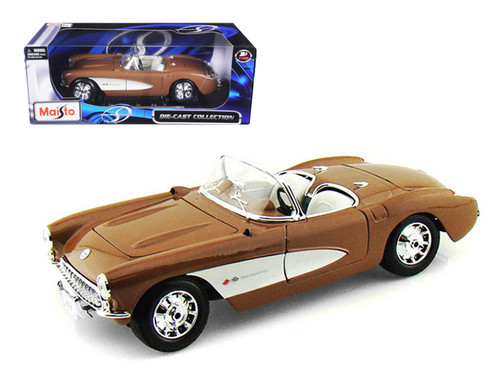 1957 Chevrolet Corvette Bronze 1/18 Scale Diecast Car Model By Maisto 31139