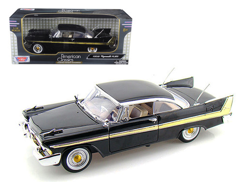 1958 Plymouth Fury Hard Top Black 1/18 Scale Diecast Car Model By Motor Max 73115