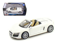 Audi R8 Spyder White 1/24 Scale Diecast Car Model By Maisto 31204