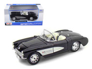 1957 Chevy Corvette Black & White 1/24 Scale Diecast Car Model By Maisto 31275