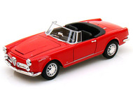 1960 Alfa Romeo Spider 2600 Convertible Top Down Red 1/24 Scale Diecast Car Model By Welly 24003