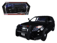 2015 Ford Interceptor Utility Police Plain Black 1/18 Scale Diecast Car Model By Motor Max 73543