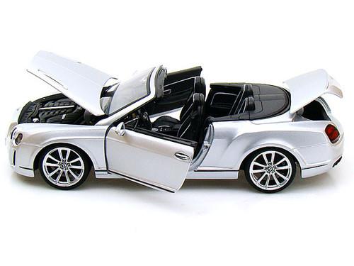 Bentley Continental SS Convertible ISR Super Sport Silver 1/18 Scale Diecast Car Model By Bburago 11035