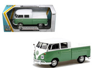 VW Volkswagen Type 2 T1 Double Cab Pickup Truck Green 1/24 Scale Diecast Model By Motor Max 79343