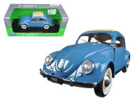 1950 VW VOLKSWAGEN CLASSIC OLD BEETLE SPLIT WINDOW BLUE 1/18 SCALE DIECAST CAR MODEL BY WELLY 18040