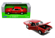 Oldsmobile 442 Red 1/24 Scale Diecast Car Model By Welly 24024
