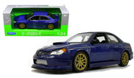 Subaru Impreza WRX STi Blue 1/24 Scale Diecast Car Model By Welly 22487