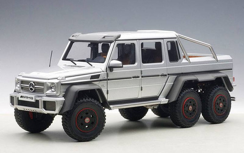 Mercedes Benz G63 AMG 6X6 Silver 1/18 Scale Diecast Model By AUTOart 76301