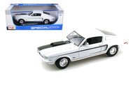 1968 Ford Mustang GT Cobra Jet Fastback White 1/18 Scale Diecast Car Model By Maisto 31167