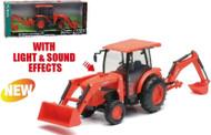 Newray 1/18 Scale Kubota L6060 Tractor Backhoe & Loader Sound & Lights 33123