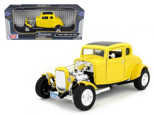 1932 Ford Hot Rod Yellow 1/18 Scale Diecast Car Model By Motor Max 73172