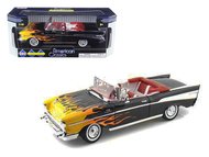 1957 Chevrolet Bel Air Convertible Black W/ Flames 1/18 Scale Diecast Car Model By Motor Max 73175