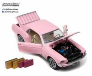 1967 Ford Mustang Coupe With Luggage Pink 1/18 Scale Diecast Car Model By Greenlight 12966