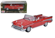 1957 Chevy Bel Air Convertible Red 1/18 Scale Diecast Car Model By Motor Max 73175