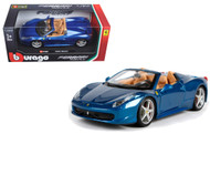 Ferrari 458 Spider Blue 1/24 Scale Diecast Model Car by Bburago 26017