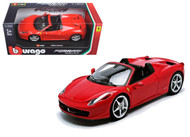 Ferrari 458 Spider Red 1/24 Scale Diecast Model Car by Bburago 26017