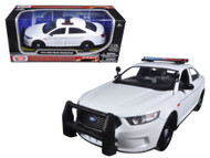 2013 Ford Interceptor White Unmarked Police Car 1/24 Scale Diecast Car Model By Motor Max 76924