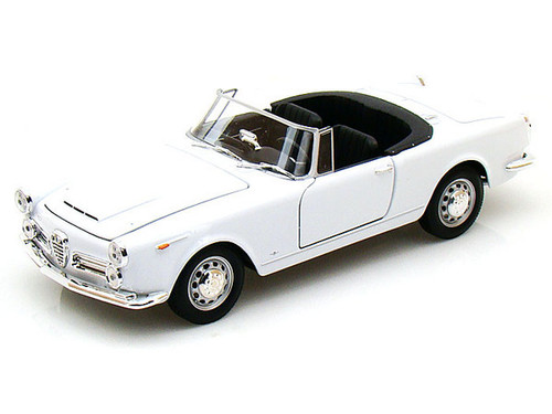 1960 Alfa Romeo Spider 2600 Convertible White 1/24 Scale Diecast Car Model By Welly 24003