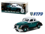 1940 Ford Deluxe Coupe City Of New York Police NYPD 1/18 Scale Diecast Model By Greenlight 12972