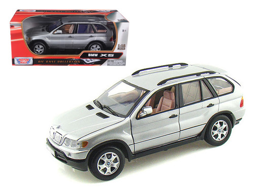 BMW X5 Silver 1/18 Scale Diecast Car Model By Motor Max 73105