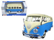 Volkswagen Samba Bus Blue 1/25 Scale Diecast Car Model By Maisto 31956