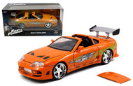 Brians Toyota Supra Orange Fast & Furious 1/24 Scale Diecast Car Model By Jada 97168 New Package