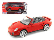 Porsche 911 Turbo Cabriolet Convertible Red 1/18 Scale Diecast Car Model By Motor Max 73183