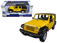 2015 Jeep Wrangler Unlimited Yellow 1/24 Scale Diecast Car Model By Maisto 31268