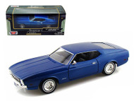 1971 Ford Mustang Sportsroof Blue 1/24 Scale Diecast Car Model By Motor Max 73327