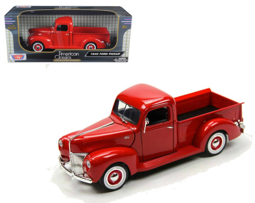 1940 Ford Pickup Truck Red 1/18 Scale Diecast Model By Motor Max 73170