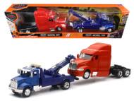 Peterbilt Model 335 Tow Truck Blue & Peterbilt Model 387 Cab Red Truck 1/43 Scale By Newray 15053