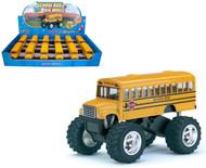 "School Bus Big Wheel Toy Car Box Of 12 Pull Back 5"" By Kinsmart Kids Fun KS5108"