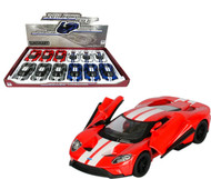 "2017 Ford GT Toy Car Box Of 12 Pull Back 5"" 1/38 Scale By Kinsmart KT5391 F"