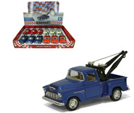"""1955 Chevy 3100 Stepside Tow Truck Box Of 12 Pull Back 5"""" 1/32 Scale By Kinsmart KT5378"""