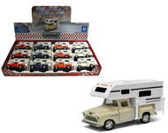 """1955 Chevy Stepside Truck With Camper Box Of 12 Pull Back 5"""" 1/32 Scale By Kinsmart KT5505"""
