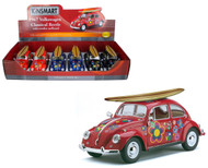 "1967 Volkswagen Bug With Flowers & Wooden Surf Board Box Of 6 7"" 1/24 Scale By Kinsmart KT7002"