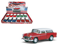 "1955 Chevy Nomad Toy Car Box Of 12 Pull Back 5"" 1/40 Scale By Kinsmart KT5331"