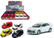"2008 Mitsubishi Lance Evolution X Box Of 12 Pull Back 5"" 1/36 Scale By  Kinsmart KT5329"