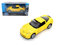 2007 Chevy Corvette C6 Z06 Yellow 1/24 Scale Diecast Car Model By Welly 22504