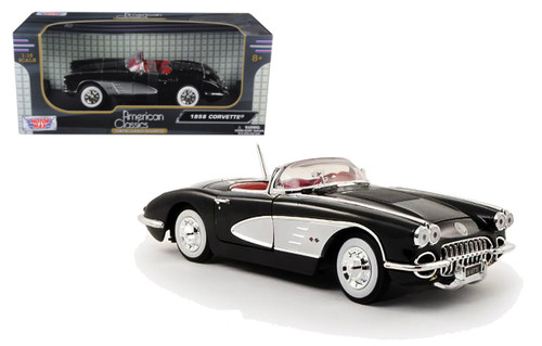 1958 Chevrolet Corvette Convertible Black 1/18 Scale Diecast Car Model By Motor Max 73109