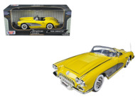 1958 Chevrolet Corvette Convertible Yellow 1/18 Scale Diecast Car Model By Motor Max 73109
