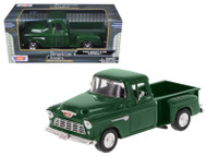 1955 Chevrolet Stepside 5100 Pick Up Truck Green 1/24 Scale Diecast Model By Motor Max 73236