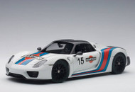 Porsche 918 Spyder Weissach Package White Martini Livery 1/18 Scale Diecast Car Model By AUTOart 77927