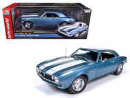 1967 Chevy Camaro Z/28 50th Anniversary Nantucket Blue 1/18 Scale Diecast Car Model By Auto World AMM1101